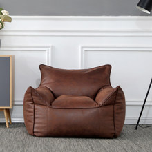 Único sofá de couro rainha rei preguiçoso sofá saco de feijão sofá canto assento tatami c braço lazer sofá cadeira encosto reclinável