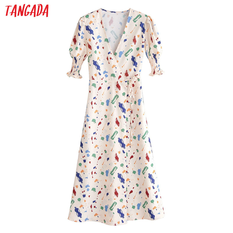 Tangada French Fashion Women Print Dress 2020 New Arrival Pleated Short Sleeve Ladies Midi Dress With Slash 1F155