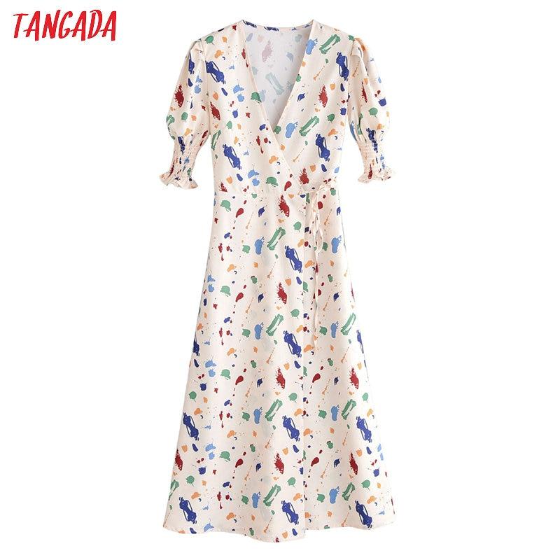 Tangada French Fashion Women Print Dress 2020 New Arrival Pleated Short Sleeve Ladies Midi Dress With Slash 1F155