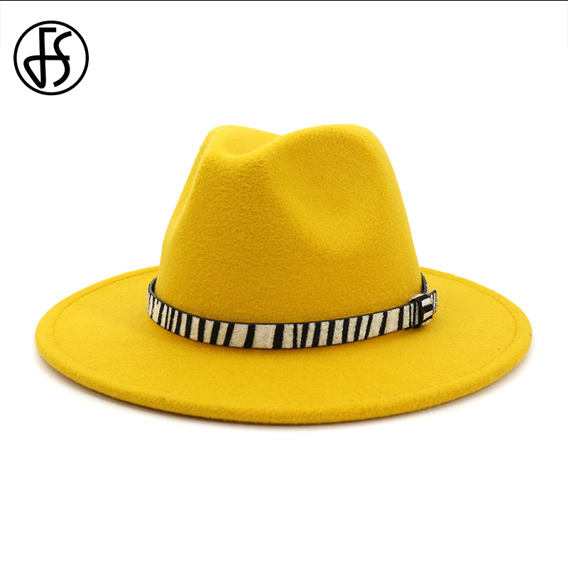 FS Church Hats Women Elegant Wool Cap Classic Yellow Purple Hats For Men Large Size Wide Brim Tophat Woman Fedoras Sombrero