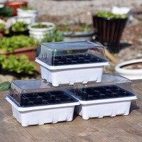 Bandejas de semillas de 12 células  bandeja de plástico para vivero con tapa protectora de cultivo  bandeja de semillas de plantas  Mini invernadero para macetas de jardín y agricultura