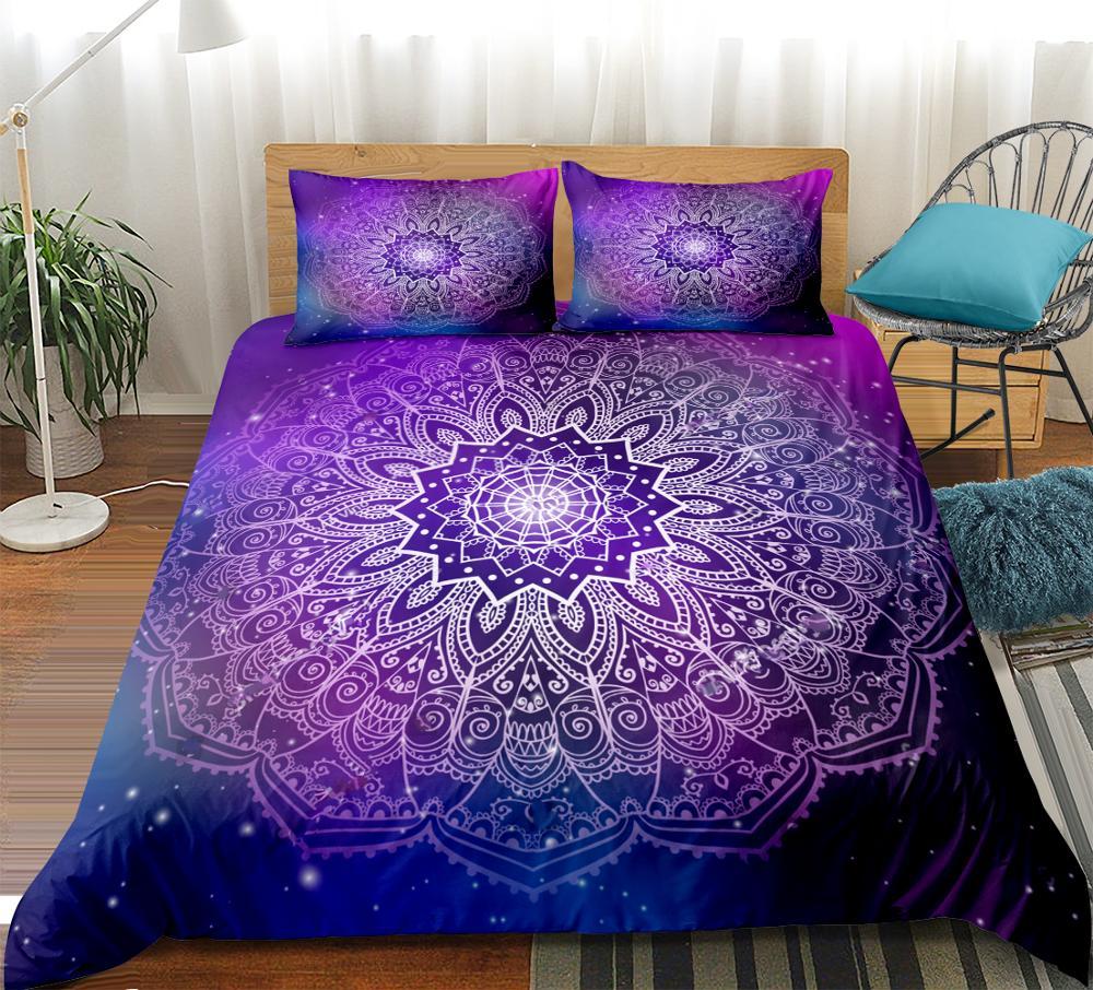 Purple Mandala Bedding Set Lotus Bed Cover Bohemian Duvet Cover Set King Exotic Quilt Cover Boho Home Textiles Dropship Queen