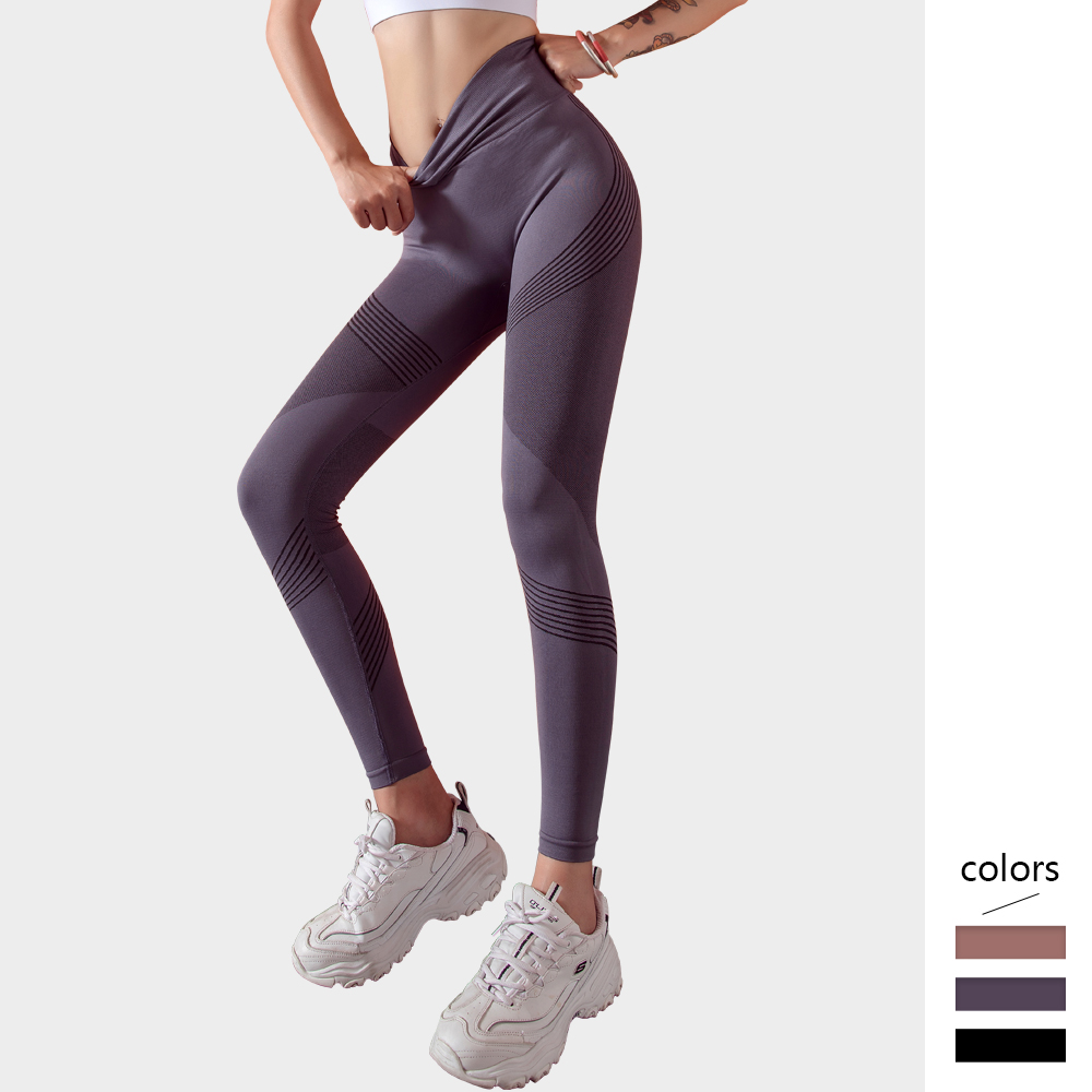 Female Sports Leggings Striped Design  Women High Waist Stitching Hollow Breathable And Elastic High Waist Skinny Women Trousers