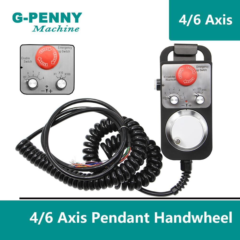 Free Shipping! CNC 4 Axis 6 Axis Mach3  MPG Pendant 100 Pulse  MPG Handwheel With E-stop Emergency Switch, Electronic Hand Wheel