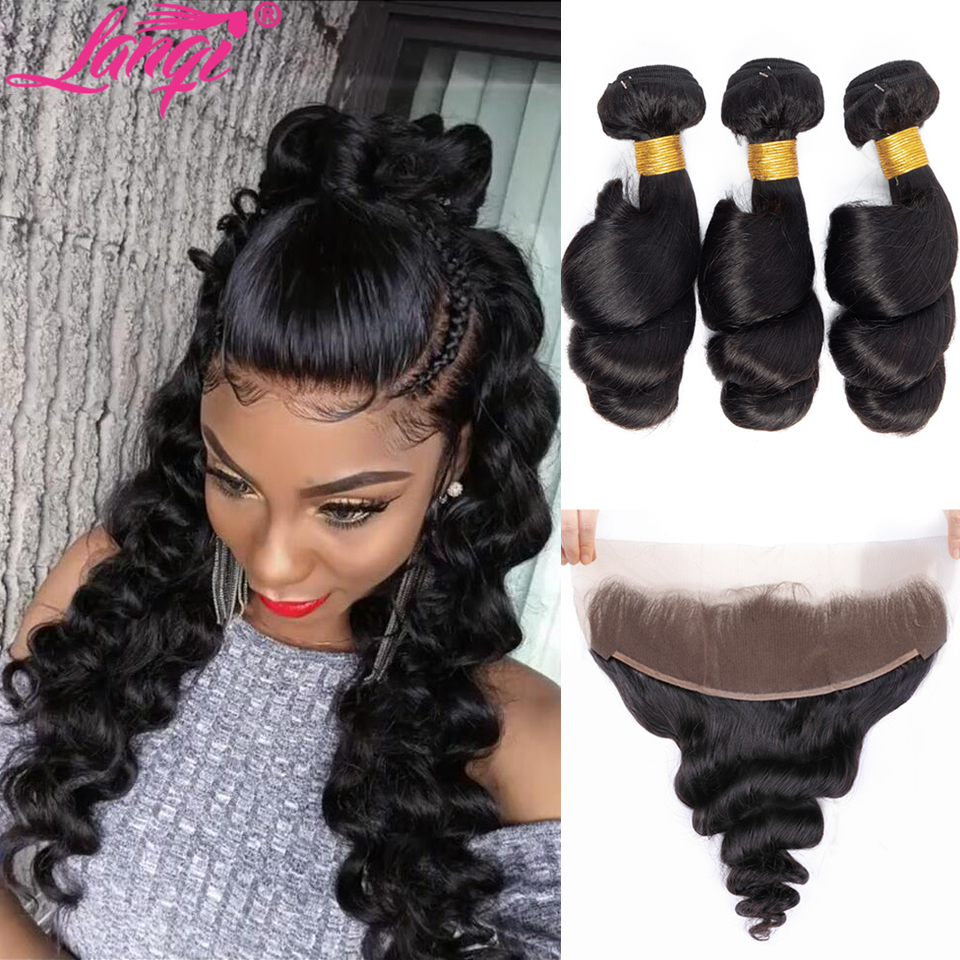 Image 2 - Brazilian loose wave bundles with frontal human hair weave frontal with bundles non remy hair bundles with lace frontal closure-in 3/4 Bundles with Closure from Hair Extensions & Wigs