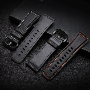 Image 3 - PEIYI 28mm Carbon fibre leather watchband  black with white blue orange red line strap substitute for Sevenfriday leather strap