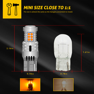 Image 2 - 2 pces carro 7440 led sem hyper flash âmbar amarelo laranja t20 w21w 1156 7507 bau15s p21w py21w lâmpadas led transformar luzes de sinalização canbus