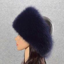 Для женщин зимние Шапки из натурального меха серебристой лисы