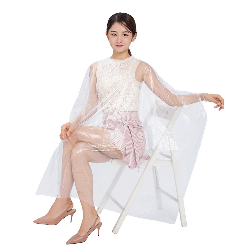 50/100 Pieces Per Package Disposable PE Waterproof Apron Cut Perm Dye Hair Cape Gown Antistatic Disposible Hair Cutting Apron