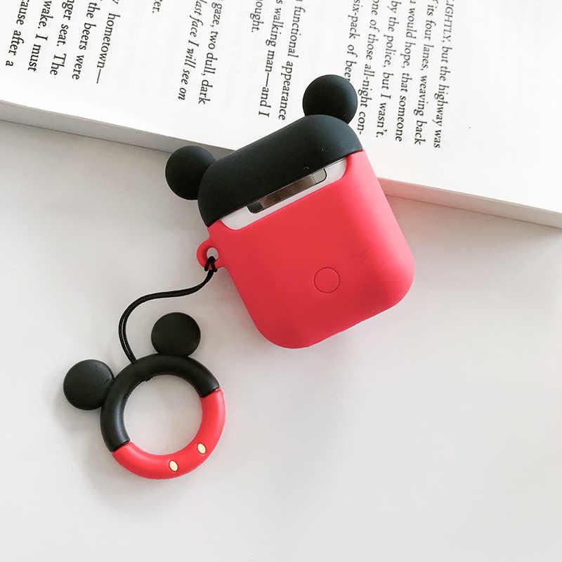 かわいい漫画ミッキーミニー Apple Airpods ケースワイヤレス Bluetooth イヤホンバッグ保護カバー Coque 抗ロスト