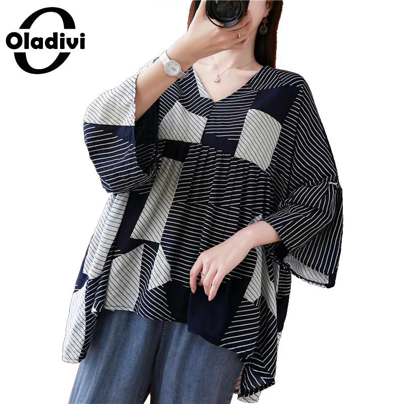 Oladivi Oversized Plus Size Women Fashion Striped Chiffon Blouse Shirt Summer Lady Casual Loose Big Cape Top Tee Tunic Blusa 8XL