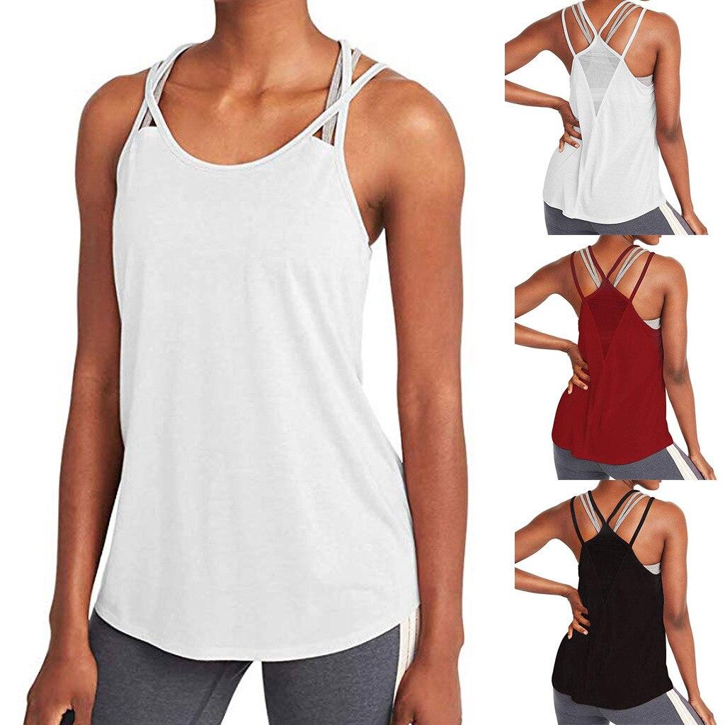 Woman T-shirt For Fitness Sports Wear Women Gym Shirt Sport Yoga Top Tank Open Back Workout Tops Women's Sportswear