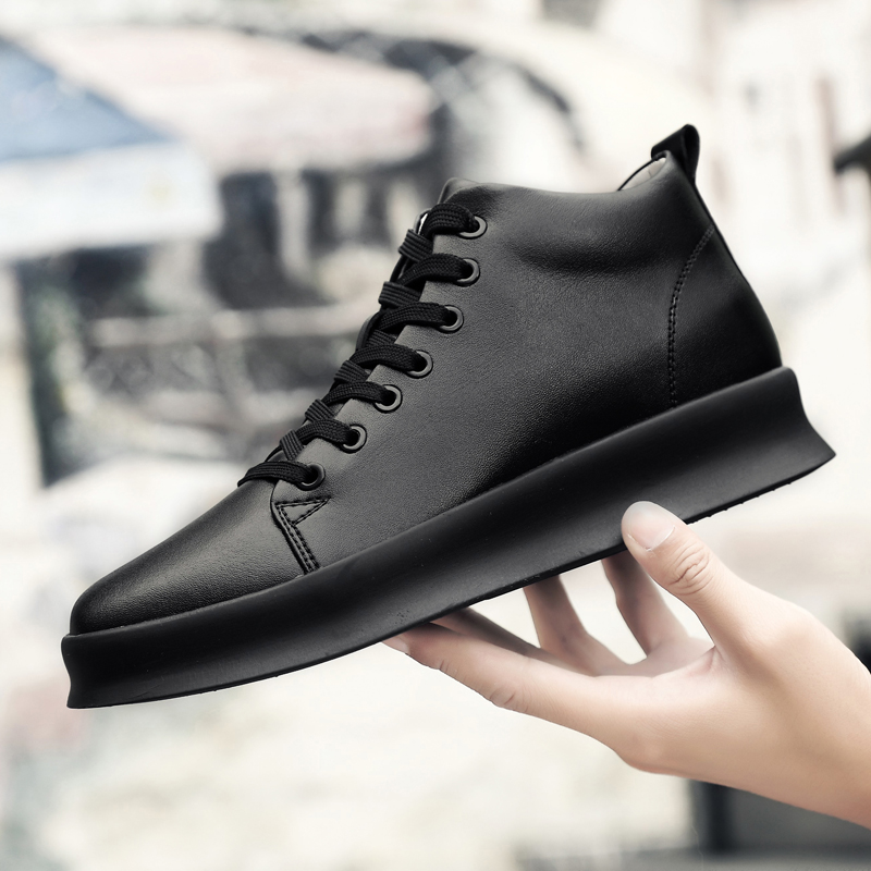 High Quality All Black Men's Leather Casual Shoes Increase Simple Pure Black Sneakers Fashion Breathable Sneakers Fashion Flats