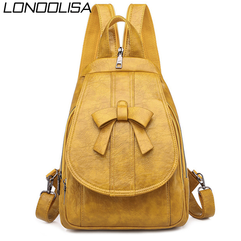 Soft Oil Leather Bagpack Ladies Backpack Multifunction Back Pack School Bags For Teenager Girls Backpack Women Chest Bag Mochila