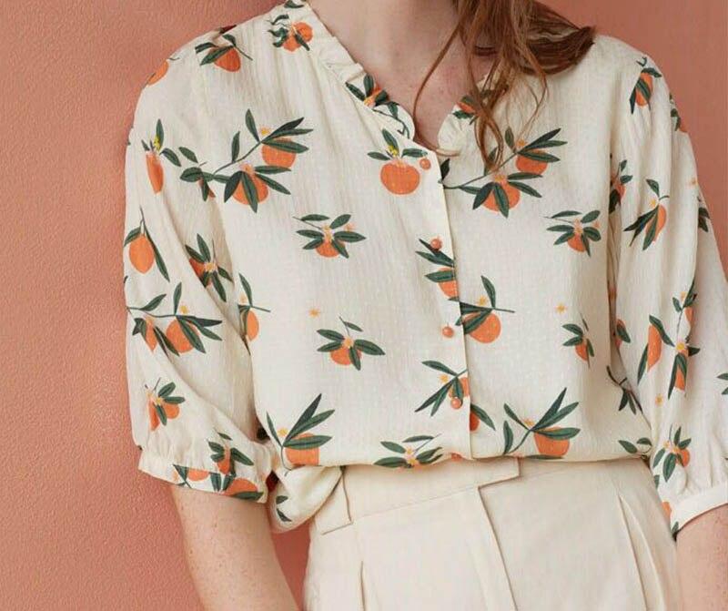 Chemise femme petit fruit orange frais imprimé petit ourlet col en v chemise ample