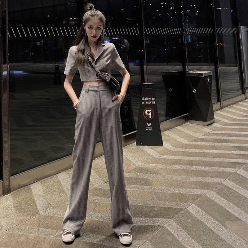 Spring 2020 New Korean Short Suit Shows Thin Wide Leg Pants High Cold Yujiefeng Two Piece Fashion Suit For Women
