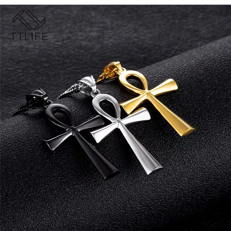 Amulet Pendant Egyptian Ankh Crucifix Necklaces Pendants Stainless Steel Symbol of Life Cross Necklaces Jewelry Gifts Chains