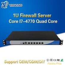 Minisys 6 Lan 1U Firewall urządzenie Rack serwer Intel i7 4770 czterordzeniowy 2 * DDR3 Ram Pfsense Router OS PC dla bezpieczeństwa sieci