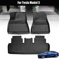Audew 3Pcs Black Car Floor Mat Custom Waterproof Durable TPO Front Rear Floor Carpet Cover Fit All Weather For Tesla Model 3
