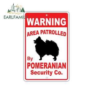 EARLFAMILY 13cm x 13cm Warning Area Patrolled By Pomeranian Dog Car Sticker Anime Personality Creative Stickers Vinyl Car Wrap(China)