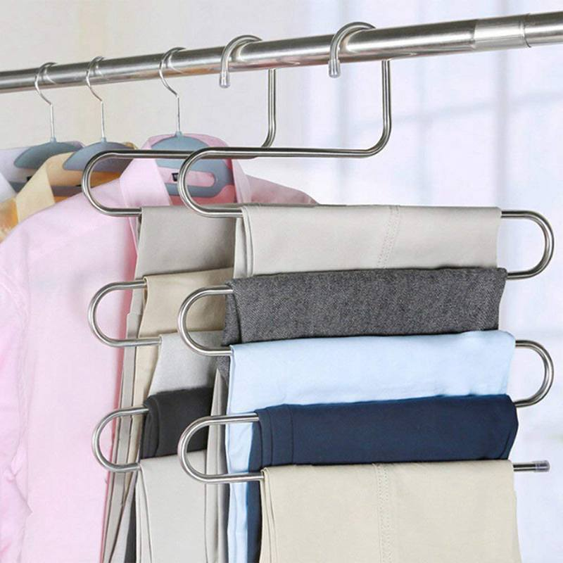 5 Pcs Pants Hangers Trousers S-type Stainless Steel 5 Layers Space Saver Clothes Organizer Multi-function Jeans Holder Storage