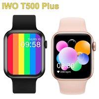 Iwo 10 T500 + Smart Horloge Serie 6 Bluetooth Call Hartslag Bloeddruk Fitness Tracker Smartwatch Voor Apple Android telefoon