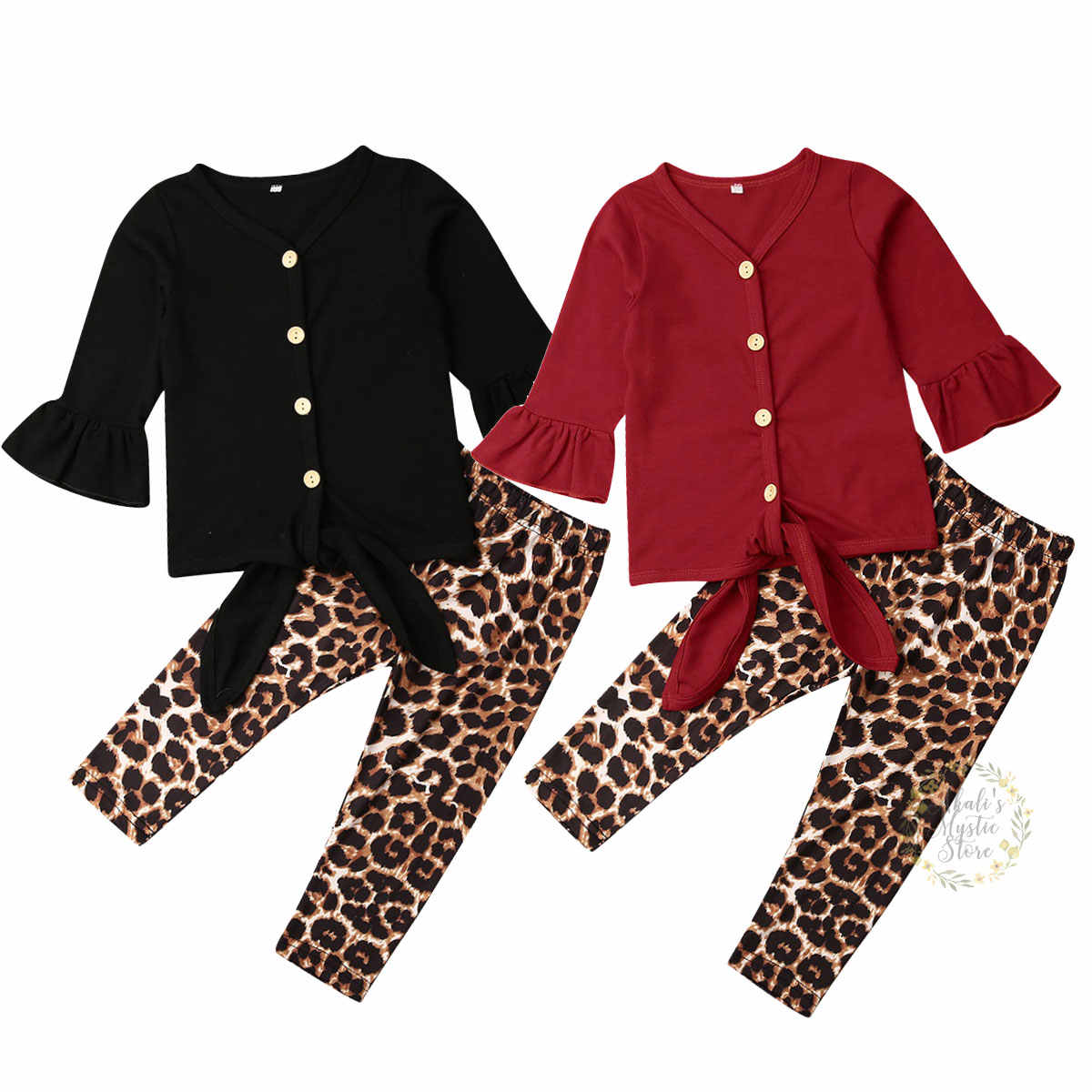 1-6Years Toddler Baby Kid Girls Clothing Set Long Sleeve T-shirt Tops Leopard Legging Pants Outfits Tracksuit Autumn Spring