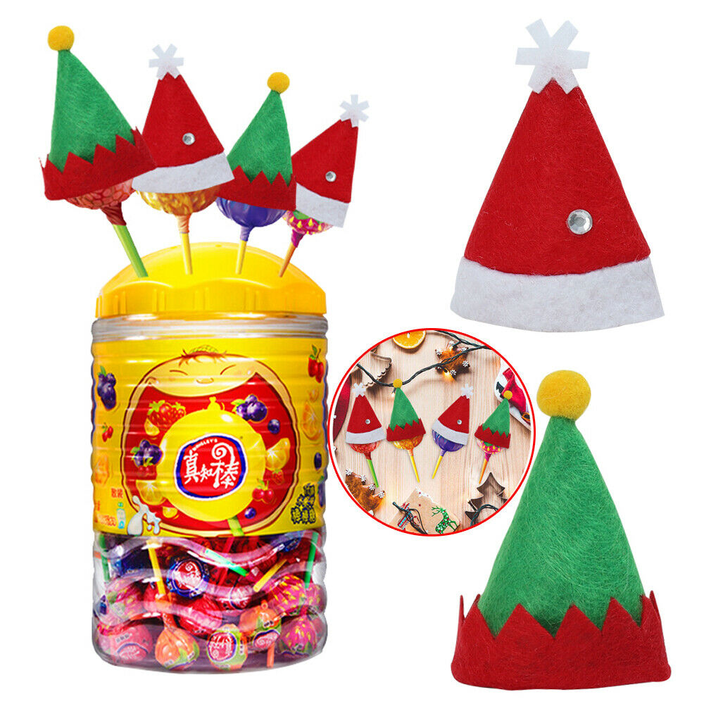 10pcs/set Small Mini Lollipop Christmas Hat Candy Santa Claus Cap Decoration Party Xmas Hat Kids Toy