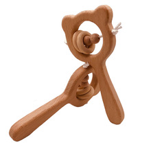 Baby Toy Beech Wood Bear Hand Teething Wooden Ring Can Chew Beads Rattles Play Gym Montessori Stroller