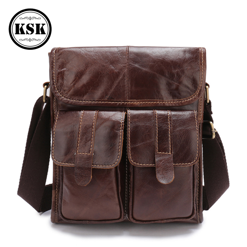 Genuine Leather Bag Messenger Bag For Men Leather Shoulder Handbag 2019 Fashion Vintage Crossbody Bags Male Business Handbag KSK
