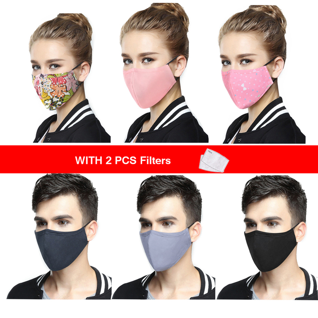 Korean Anti-Dust Respirator Masks Cotton Fabric Face Mask With Carbon Filter Anti PM2.5 Mouth-muffle Mask Washable Reusable