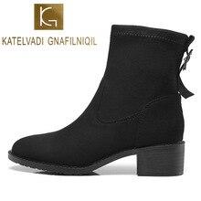 KATELVADI Size 34-43 Ankle Boots Women Black Flock Zipper Back 4CM Square Heels Round Toe Warm Snow Shoes  K-543