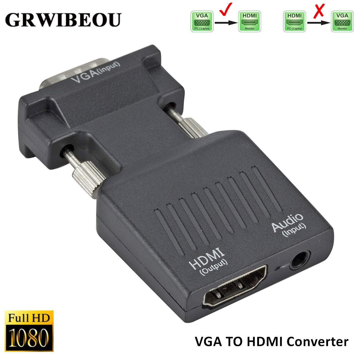 Grwibeou VGA Male To HDMI Female Converter With Audio Adapter Cables 720/1080P For HDTV Monitor Projector PC Laptop TV-Box PS3
