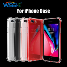 Transparent Soft Phone Case For iPhone 8 7 6 6S Plus Case Shockproof Protective Case For iPhone 8 Plus Back Cover For iPhone 7 protective plastic back case for iphone 6 plus deep blue