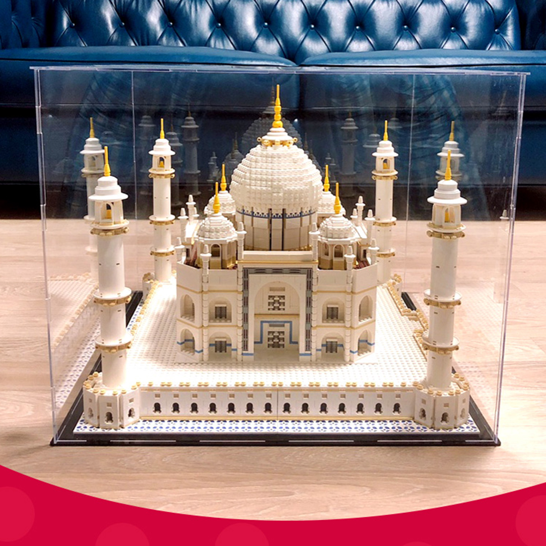 54 X 54 X 45cm Acrylic Dustproof Display Box Show Case For Taj Mahal 10256 For Gift (Display Box Only, No Kit)- Black Bottom