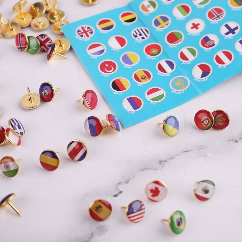 100pcs/box Map Tacks National Flag Glue Thumbtack Push Pins Notice Board Markers School Office Supplies C26