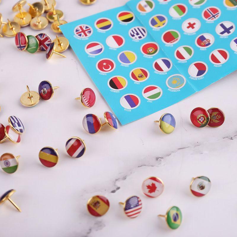 100pcs/box Map Tacks National Flag Glue Thumbtack Push Pins Notice Board Markers School Office Supplies C26