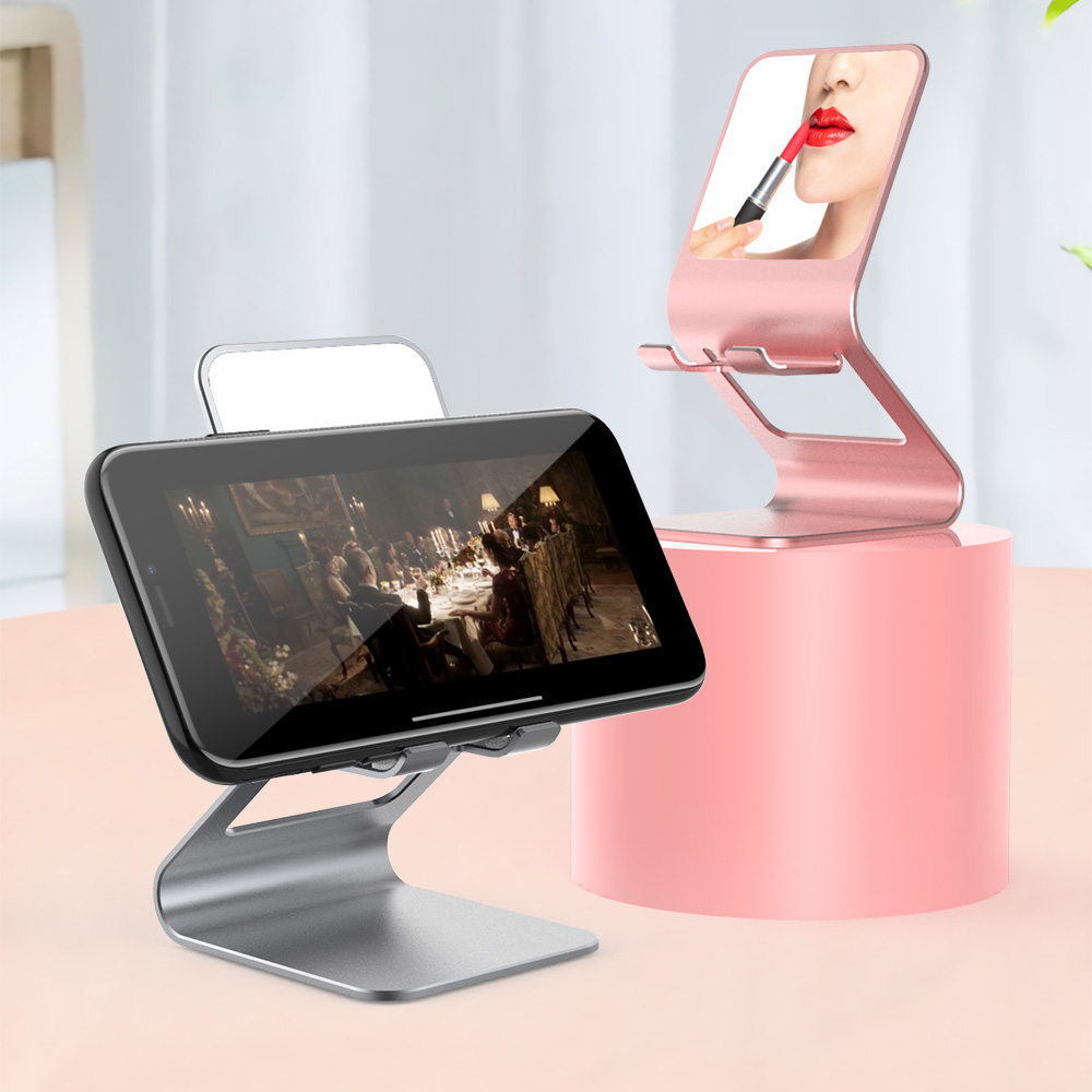 Universal Metal Desktop Tablet Phone Holder W/ Mirror For IPhone 11 For Samsung Galaxy Tab For IPad Mini 4 5 Desk Stand Support