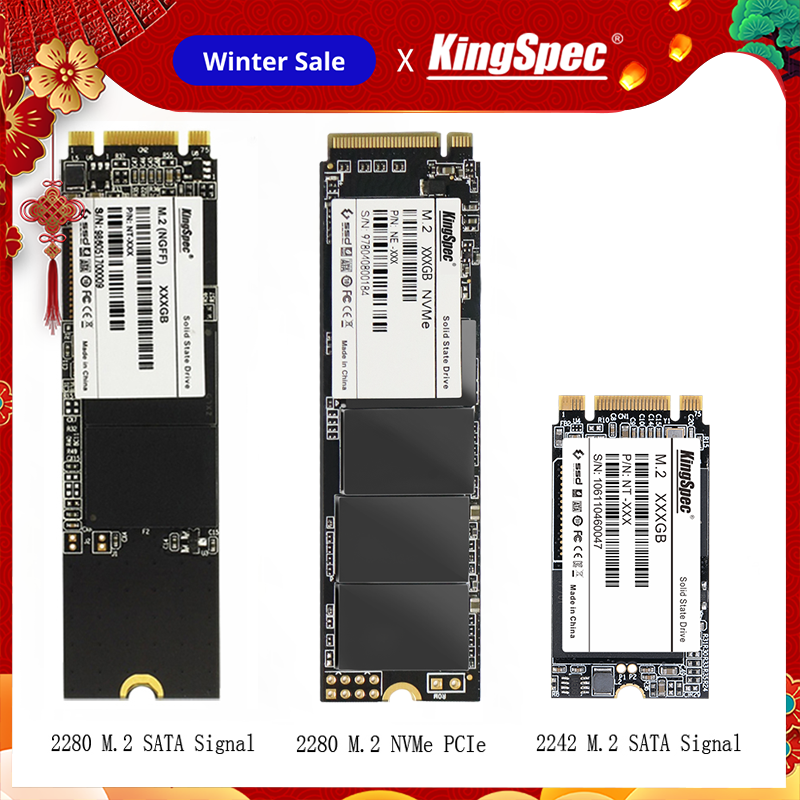 Kingspec <font><b>2280</b></font> M.2 <font><b>SSD</b></font> 64GB 128GB 256GB <font><b>M2</b></font> <font><b>SSD</b></font> 500GB 512GB 2242 Internal Hard Drive Disco Duro Disk for Laptop/ Notebook/Desktop image