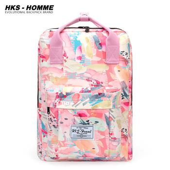 Plecaki damskie różowe drukowanie proste płótno dopasowane na co dzień modne torby Harajuku o dużej pojemności plecak podróżny w stylu koreańskim tanie i dobre opinie HKS-HOMME Poliester CN (pochodzenie) WOMEN Miękka Poniżej 20 litr Wnętrze slot kieszeń Kieszeń na telefon komórkowy