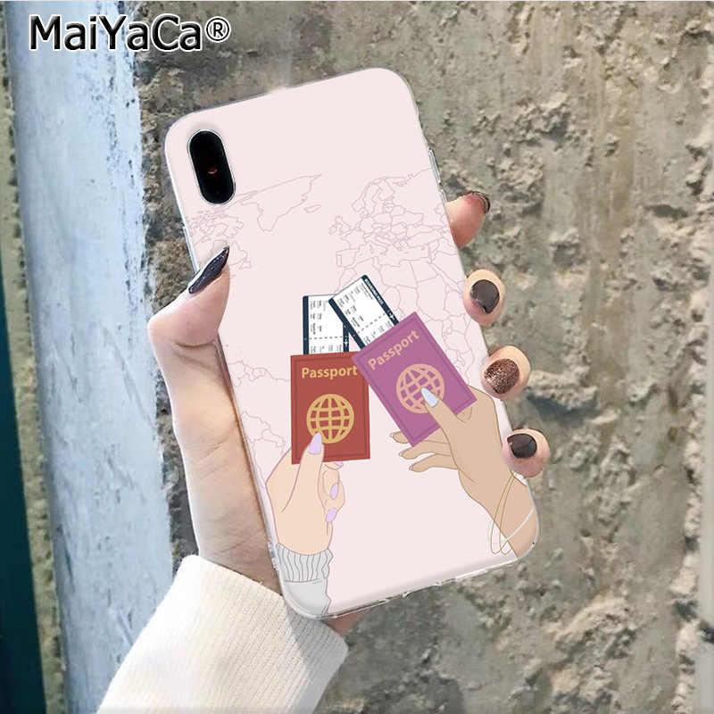 MaiYaCa ravelling dünya haritası seyahat Akıllı Kapak Siyah Kabuk telefon kılıfı Apple iphone 11 pro 8 7 66S Artı X XS MAX 5S SE XR