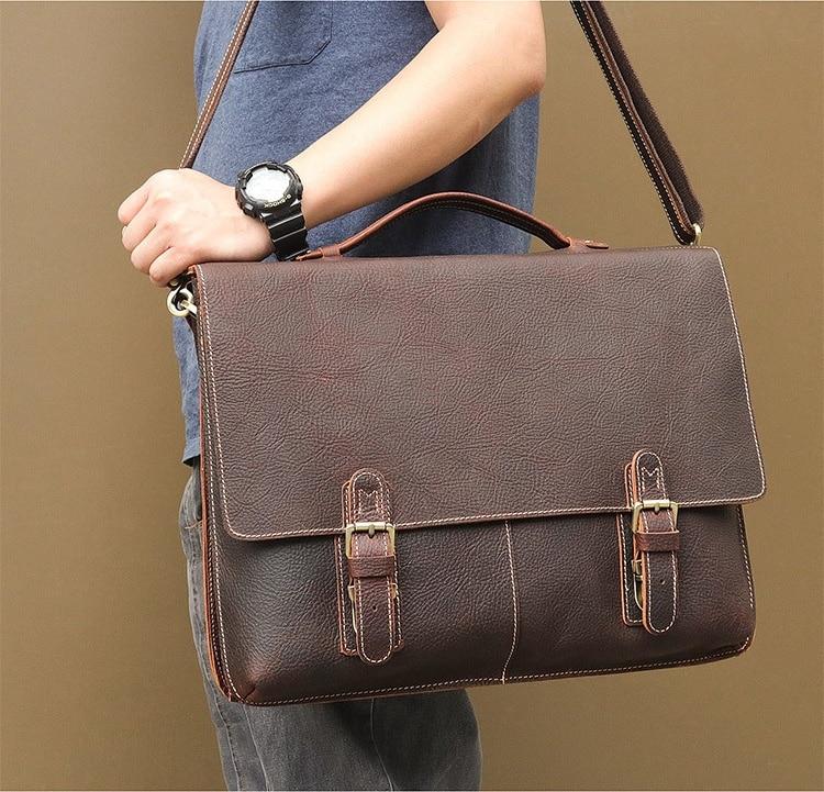 MAHEU Briefcase Computer-Bag Laptop Big-Size 17inch Men For Male 100%Cowhide Large