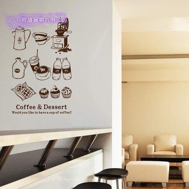 Кофейня наклейка Bean Milk tea наклейка чашка плакат виниловая художественная Настенная Декорация украшение разбитый хлеб кафе стеклянные наклейки