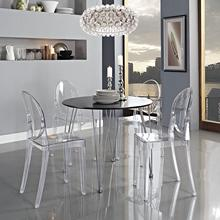 Set of 6 Nordic Ghost Chair Transparent Dining Chairs Victoria Dressing Table Chair Garden Kitchen Wedding Dining Room Chairs