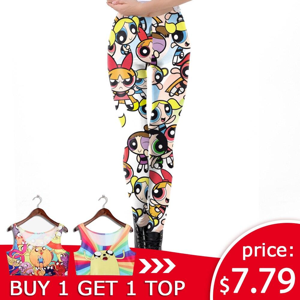 NADANBAO Cartoon Powerpuff Girls Women   Leggings   3D Printed Fitness   Legging   Workout Elasticity Leggin Plus Size