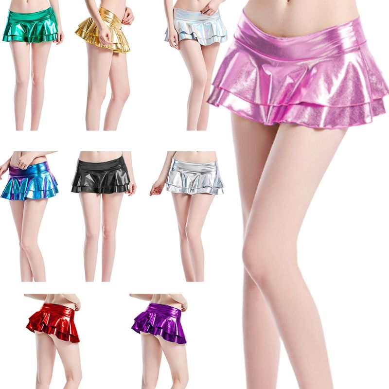 9 Colors Womens Double Layered Ruffles Pleated Mini Skirt Clubwear Rave Party Wear Metallic Holographic Pole Dance Costumes