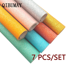 QIBUMAY 7pcs Faux Glitter Leather Sheets Fabric Shiny A4 Gold Synthetic DIY Hairbow Accessories 22*30cm