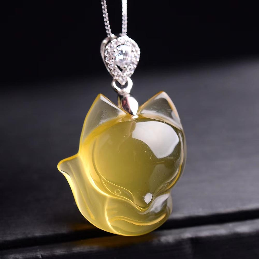 Genuine Natural Yellow Citrine Quartz Crystal Women Pendant 28x14x13mm Gemstone Fox Carved Wealthy Stone Bead Necklace AAAAA