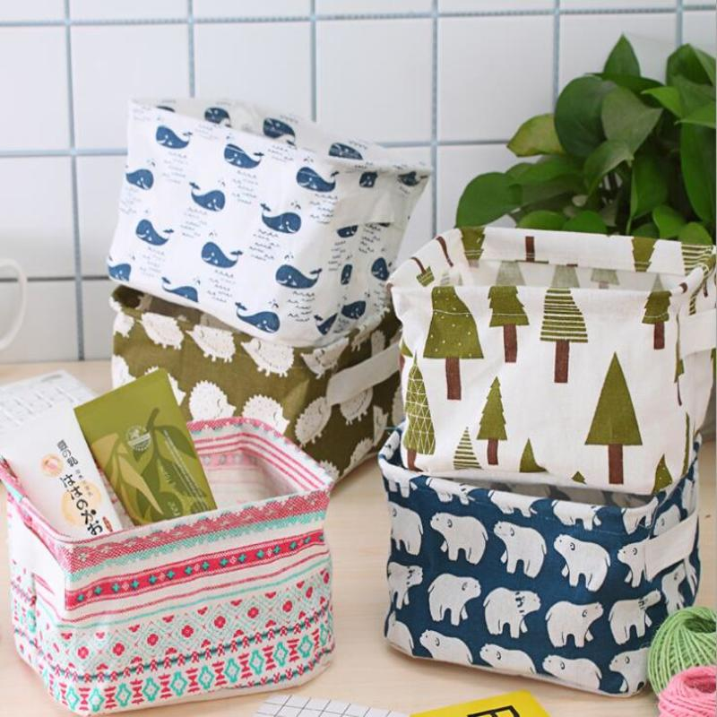 Multifunction Desktop Storage Basket Cute Printing Durable Sundries Storage Box Folding Cotton Linen Underwear Storage Bag 1Pcs