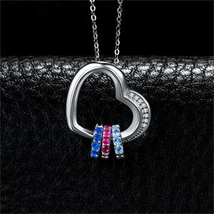 Image 2 - Heart Created Pink Blue Sapphire Pendant Necklace 925 Sterling Silver Gemstones Choker Statement Necklace Women Without Chain